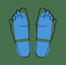 position des pieds pour la prise de mesure avec accuniq